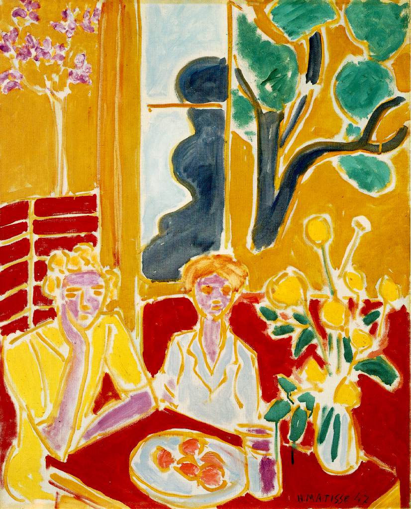 Matisse's Two Girls In A Yellow And Red Interior