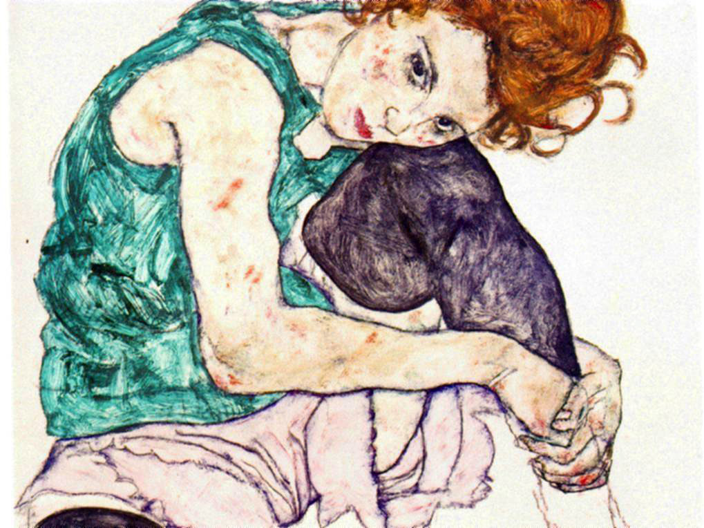 Schiele's Sitting Woman With Legs Drawn Up